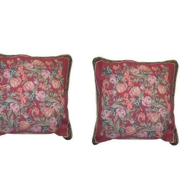 DaDa Bedding Set of Two Red Field of Roses Throw Pillow Covers W/ Inserts - 2-Pcs - 18""