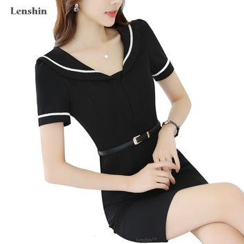 Sailor Collar Dress Preppy Style New Fashion Short Sleeve Black Girl's Clothing Summer Wear Without Lining