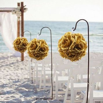 10pcs 13cm Gold Rose Flower Ball Artificial Hydrangea Hanging Kissing Balls for Wedding Party Decoration