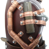 Steampunk Armtraption- Brown Leather and Copper Illuminated Leather Arm Guard by Dr Brassy Steampunk