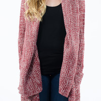 Red Oversized Collared Shawl Cardigan