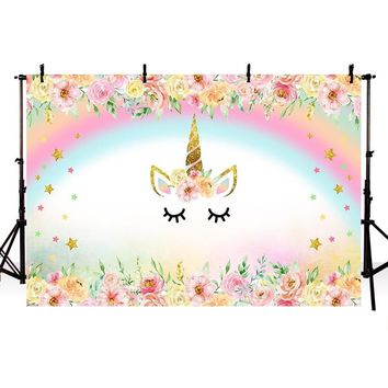 MEHOFOTO Unicorn Party Flower Birthday Baby Newborn Photography Backgrounds Customized Photographic Backdrops For Photo Studio
