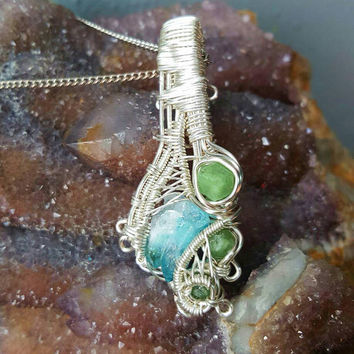 Aqua Aura Quartz and Demantoid Garnets ×3 Wire Wrapped Necklace Silver Wire