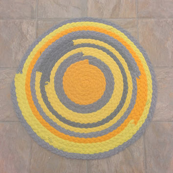 Yellow Rug, Yellow Grey Rug, Yellow Braided Rug, Up-cycled Tshirt Rug, Handmade Rug, Bright Yellow Rug, Recycled Rug, Sunny Rug