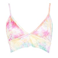 Grace Triangle Multi Coloured Velvet Bralet | Boohoo