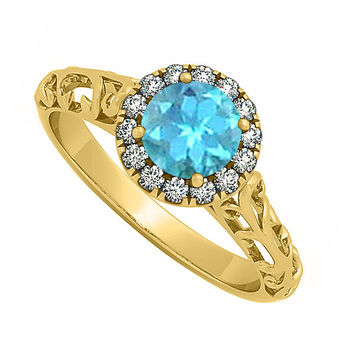 Blue Topaz and CZ Halo Filigree Engagement Ring in 18K Yellow Gold Vermeil Gift for Her: RS4