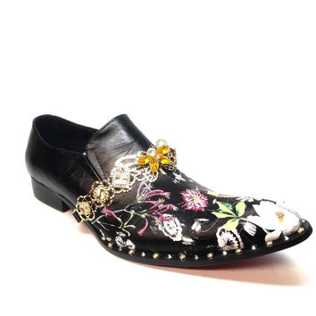 Fiesso FI7046 Floral Chained Red Bottom Dress Loafers