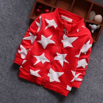 New Fashion Children's Clothes Five-pointed Star Movement Zipper Shirt Spring Kids Outwear Children Cool Coat Baby Boy Clothes