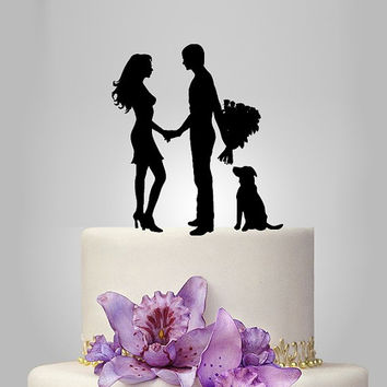 acrylic wedding Cake Topper Silhouette, your dog Wedding Cake Topper,couple silhouette wedding Cake Topper, acrylic cake topper