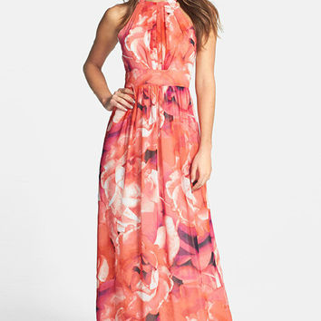 Rose Floral Halter Chiffon Long Dress
