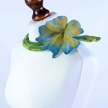 Green, blue and yellow felt necklace with a large flower - bright & light, natural, garden jewelry - felted wool, fiber art necklace [N134]
