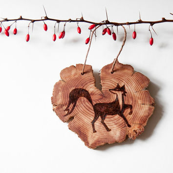 Wood Burned Fox on Cedar Heart.  Woodland Animal Ornament or wall hanging