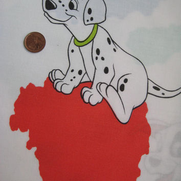 Vintage Disney 101 Dalmatians TWIN Size Fitted Flat Bedding Sheet Kids Girl Boy Craft Fabric Used Clean