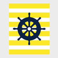 Nautical Navy Wheel Yellow Stripes Print Nursery Decor Baby Print CUSTOMIZE YOUR COLORS 8x10 Prints Nursery Decor Art Baby Room Decor Kids