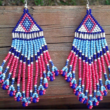 Polluted Sunset Earrings with Bird Tailed Fringe in  Blues, Coral Pink, and White Native American Sky Earrings