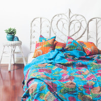 Kantha Quilt - Electric Blue