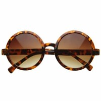 zeroUV - Cute Mod-era Vintage Inspired Round Circle Sunglasses (Tortoise)