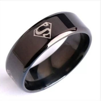 Men's 8mm wide black superman superman titanium steel Men's Rings = 1946298628