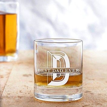 AMAVEL Whiskey Glass Best Dad Ever  Elegant Tumbler with Initial  Standard  Perfect Birthday Gift for Men Husband Fathers Day  Capacity 10 oz