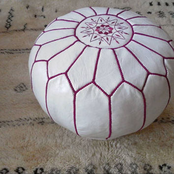 Set of 2 Moroccan Leather Pouf Ottoman Poof Pouffe pouffes hassock Footstool Beanbag leather pillow
