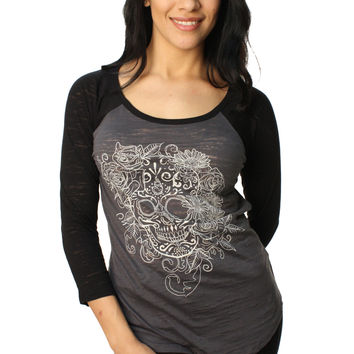 Metal Mulisha Women's Rose Skull Raglan Long Sleeve Graphic T-Shirt