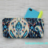 Pencil Case/Cosmetic Bag/ Gadget Case  Blue Ikat by babypenelope