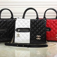 """Chanel"" Personality Fashion Multicolor Quilted Zip Metal Chain Single Shoulder Messenger Bag Women Handbag"