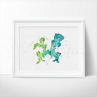 Hatter and March, Alice in Wonderland Watercolor Art Print