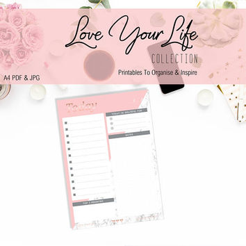 Printable to do list DIGITAL DOWNLOAD Pdf & Jpg files, pink with marble and rose gold A4 size