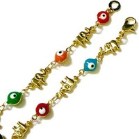 Evil Eye Elephants Gold Plated Bracelet