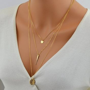Layered Set of 3 Necklaces, Personalized Layered Necklace, Circle Monogram Necklace, Small Initial Disc, Monogram Engraved, Three Layer Gold
