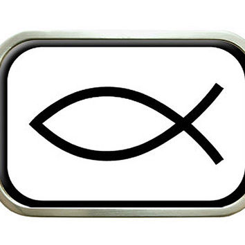 Jesus Fish Black On White - Ichthys Belt Buckle