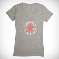 Converse Womens Chuck Taylor Patch V Neck Tee Vintage Grey Heather