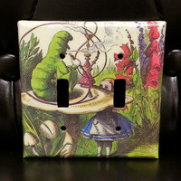 Alice in Wonderland Double Light Switch Cover - Mushroom and Caterpillar