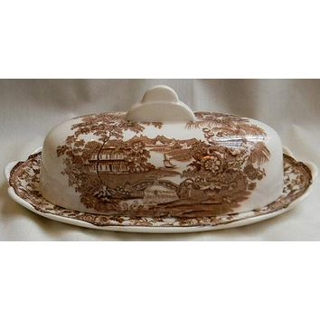 Clarice Cliff signed Covered Butter Dish Swans Roses  Vintage Brown Transferware Tonquin