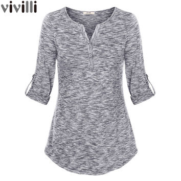 Women Henley V Neck Space Dyed Cuffed Sleeve T Shirt Tops 2017 Elegant V-Neck Knit Tee Shirt Slim Button Female Casual Tunic Top