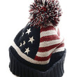 American FLag Beanie with Large Pom