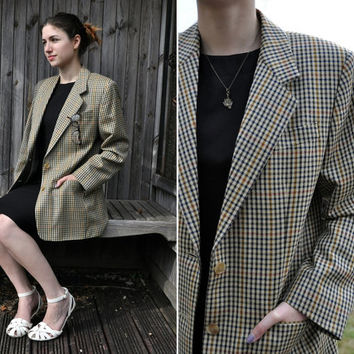 Vintage Womens Daks Sheridan Two Piece Co ord Biege Yellow Check Wool Pencil Skirt Cotton Shirt Jacket Suit 12