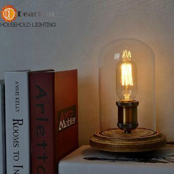New 2016 Vintage Table Lamps Wood Personalized Desk Lamp With Glass Shade For Beside Home Decor For Bedroom Living Room(TB-08)