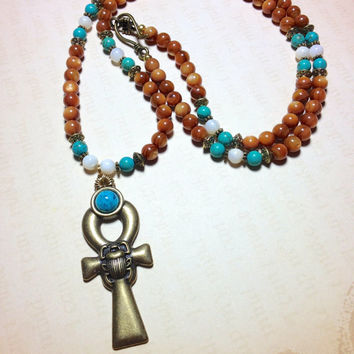 Egyptian Ankh Necklace || Mother of Pearl & Turquoise Howlite || Isis, Key to the Nile, King Tut, Scarab, Egypt, Egyptian Jewelry, Goddess