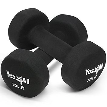 Yes4All Deluxe Neoprene Dumbbells (A Pair) – Multi Color & Weights Available