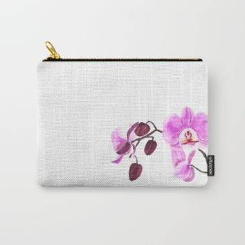 pink orchid flower watercolor painting  Carry-All Pouch by Color and Color