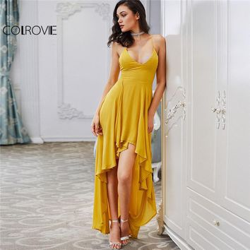 d4b6f9af38b COLROVIE High Low Draped Party Dress Sexy Backless Women V Neck