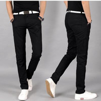 #2808 2016 Casual pants men Fashion Solid color Slim Cotton Straight Skinny Khaki joggers Men trousers Brand clothing