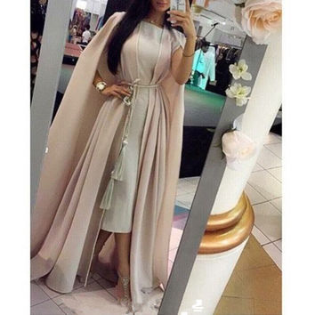 Kaftan Abaya Scoop Neck Muslim Evening Dresses Robe De Soiree A-line Evening Dress 2016 New Fashion Chiffon Long Formal Dress