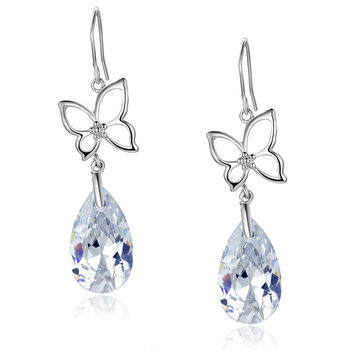 Silvery Butterfly Pear Drop Swarovski Elements Crystal Dangle Earrings - Clear