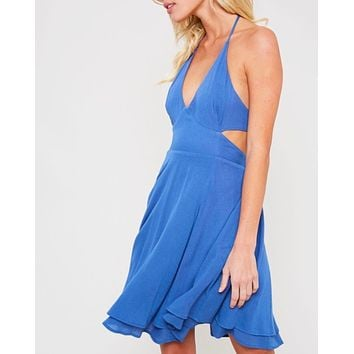 the one that I want open back halter neck flare dress with pockets in blue