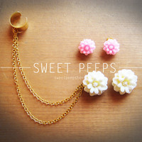 Big White and Pink Flower Ear Cuff Set