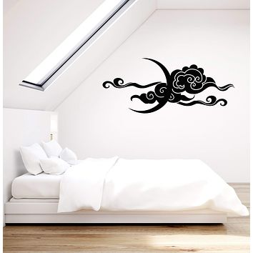Vinyl Wall Decal Crescent Moon Sky Clouds Bedroom Decoration Stickers (3005ig)