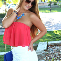 Summer Breeze Crop Top - Coral